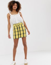 Hollister Belted Skirt In Window Pane Check Yellow