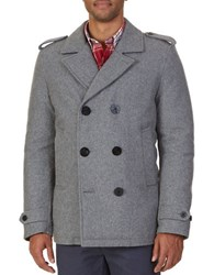 Nautica Double Breasted Wool Blend Peacoat Comet Grey Heather