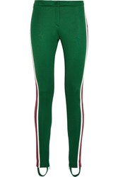 Gucci Striped Jersey Leggings Dark Green