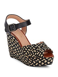 Robert Clergerie Braided Peep Toe Wedge Sandals Brown Multi