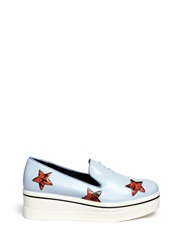 Stella Mccartney Snake Effect Star Applique Platform Slip Ons Animal Print Blue