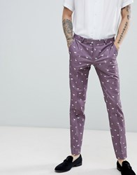 Noose And Monkey Super Skinny Printed Flamingo Suit Trousers Purple