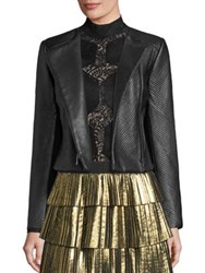 Bcbgmaxazria Textured Leather Jacket Black