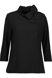 Goat Blaire Bow Embellished Wool Crepe Top Black