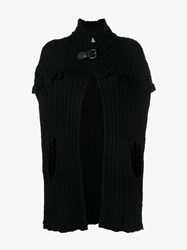 Philosophy Ruffle Cable Knit Cape Black