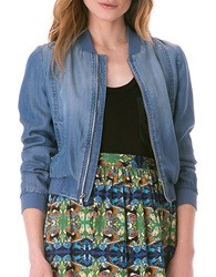 Sam Edelman Textured Bomber Jacket Blue