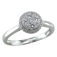 Ewa 18Ct White Gold 0.26Ct Diamond Cluster Engagement Ring N