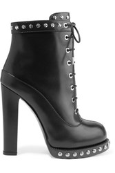 Alexander Mcqueen Studded Leather Ankle Boots Black