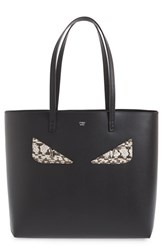 Fendi 'Roll Monster' Genuine Snakeskin Trim Leather Tote Black