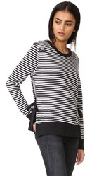 Pam And Gela Stripe Side Slit Sweatshirt Vintage Black White