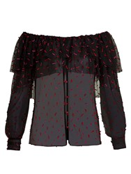 Rodarte Off The Shoulder Tulle Blouse Black Multi