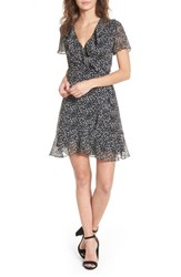 Lush Colie Ruffle Wrap Dress Black Ivory Dot