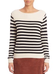 Set Striped Wool Blend Sweater White
