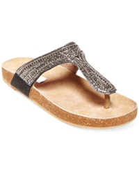 Steve Madden Radlee Rhinestone Footbed Flat Thong Sandals Women's Shoes Light Stone