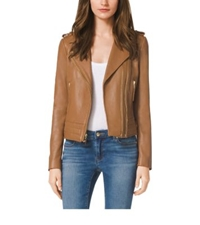 Michael Kors Zip Front Leather Jacket Luggage