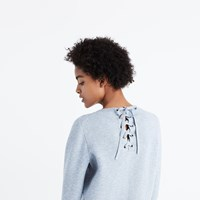 Madewell Laced Back Pullover Sweater Marled Denim