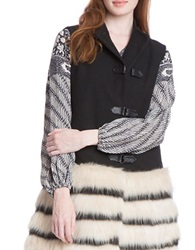 Plenty By Tracy Reese Faux Fur Trimmed Military Vest Black