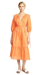 Mds Stripes Garden Dress Orange Eyelet