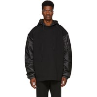 Juun.J Black Cotton And Satin Panelled Hoodie