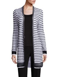 St. John Graphic Knit Cardigan Bianco Caviar