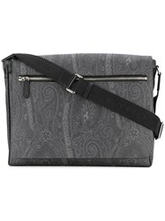 Etro Paisley Print Shoulder Bag Men Cotton Leather Polyester Pvc One Size Black