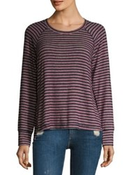 Sundry Striped Raglan Sleeve Pullover Red Navy White
