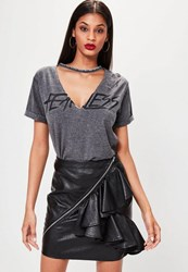 Missguided Black Faux Leather Frill Zip Mini Skirt
