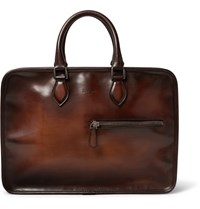 Berluti Un Jour Burnished Leather Briefcase Brown