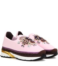 Dolce And Gabbana Embellished Espadrille Sneakers Pink
