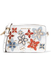 Michael Michael Kors Flowers Appliqued Textured Leather Shoulder Bag White
