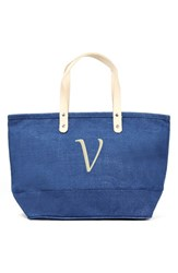 Cathy's Concepts 'Nantucket' Personalized Jute Tote Blue Blue V
