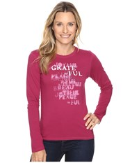 Life Is Good Grateful Stencil Long Sleeve Crusher Tee Wild Plum Women's Long Sleeve Pullover Burgundy