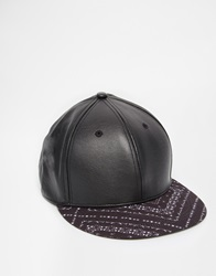 Asos Snapback Cap In Black Faux Leather With Bandana Print Peak