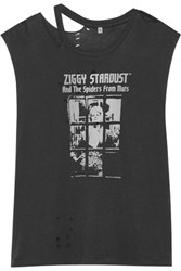 R 13 R13 Bowie Distressed Printed Cotton Blend Jersey T Shirt Black