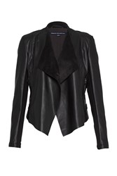 French Connection Stephanie Faux Leather Waterfall Jacket Black