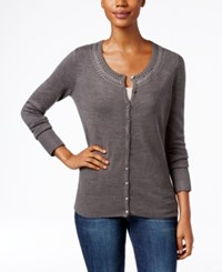 Karen Scott Rhinestone Cardigan Only At Macy's Charcoal Heather