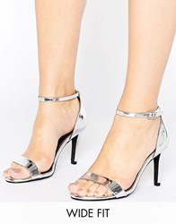 New Look Wide Fit Barely There Heeled Sandal Silver