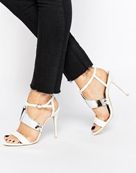 Paper Dolls Plated Heeled Sandals White