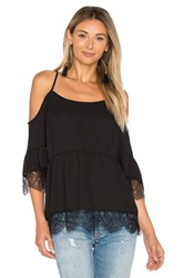 1.State Cold Shoulder Top With Lace Trim Black