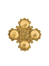 Chanel Vintage Collectable Lion Cross Brooch Metallic