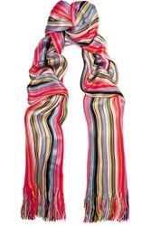Missoni Striped Crochet Knit Scarf Red
