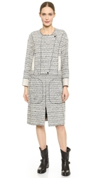 Nina Ricci Long Tweed Coat Eclipse Natural