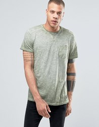 Solid Crew Neck T Shirt In Oil Wash With Pocket Khaki 3784 Green