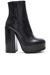 Jil Sander Platform Leather Boots In Black