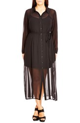 City Chic Plus Size Women's 'Longline Lady' Chiffon Maxi Shirtdress