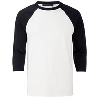 Alexander Wang Men's Raw Edge Patched Baseball 3 4 Sleeve T Shirt Matrix Black