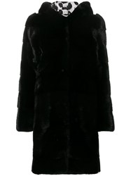 Philipp Plein Fur Hooded Coat Black
