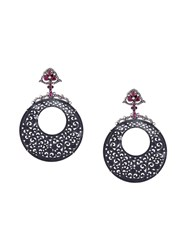 Gemco Ruby Carved Hoop Earrings Black