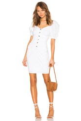 Lpa Shirred Button Up Dress With Puff Sleeve White