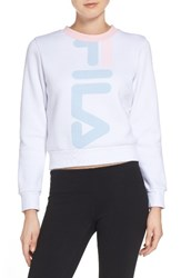 Fila Women's Mona Logo Crop Sweatshirt White Skyway Rosa Bella